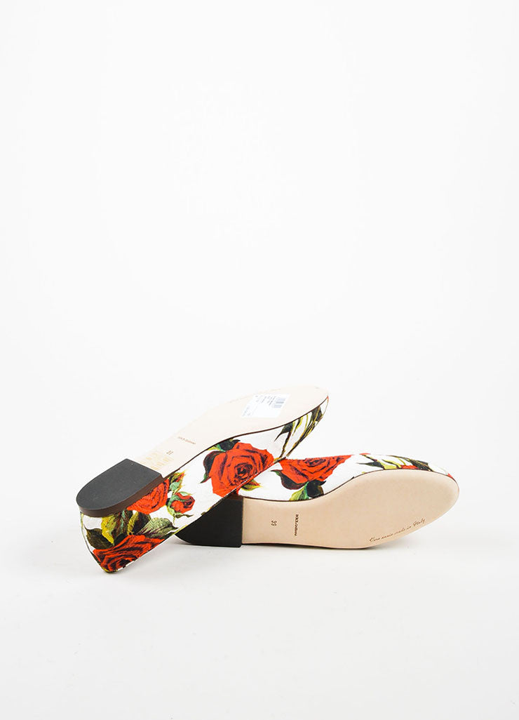 Red White Green Dolce & Gabbana Canvas Rose Print Flats Sole