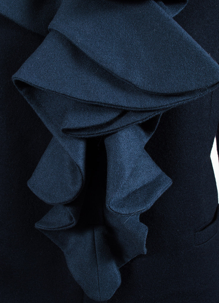 Fendi Navy Blue Fleece Wool Ruffled Cabochon Pin Collarless Zipped Jacket Detail