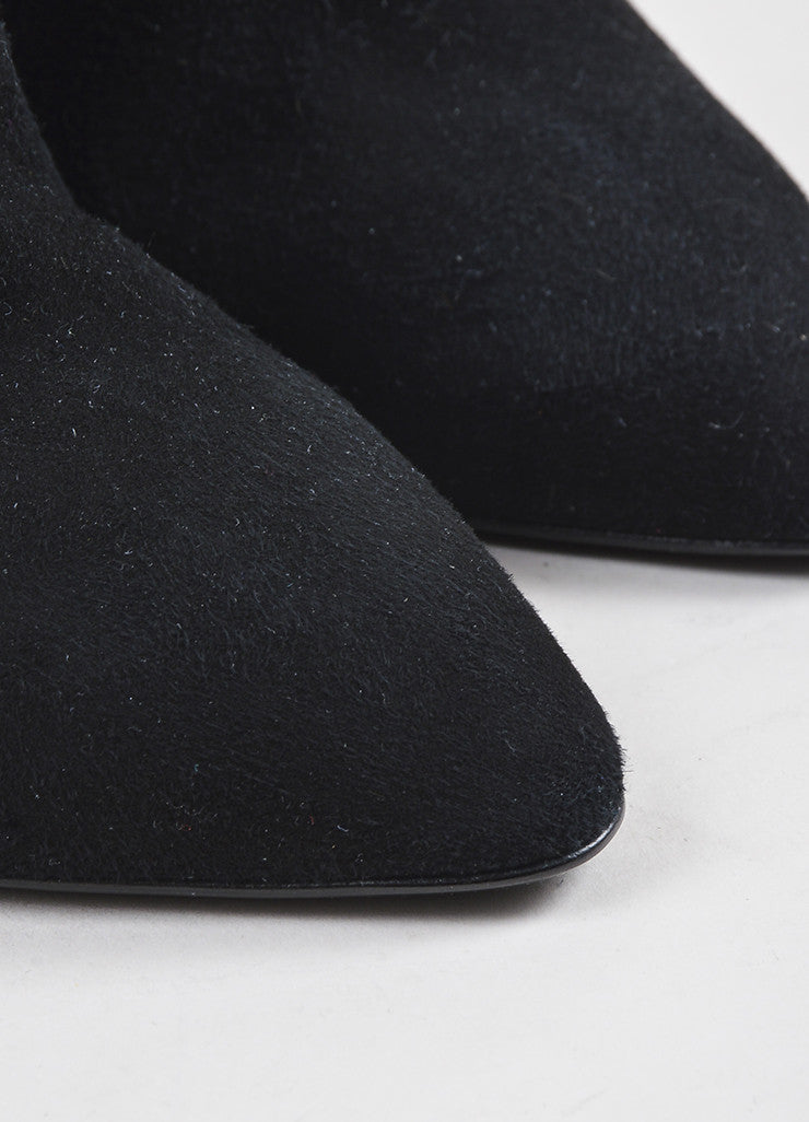 Giuseppe Zanotti Black Suede Leather Heeled Curved Mule Booties Detail