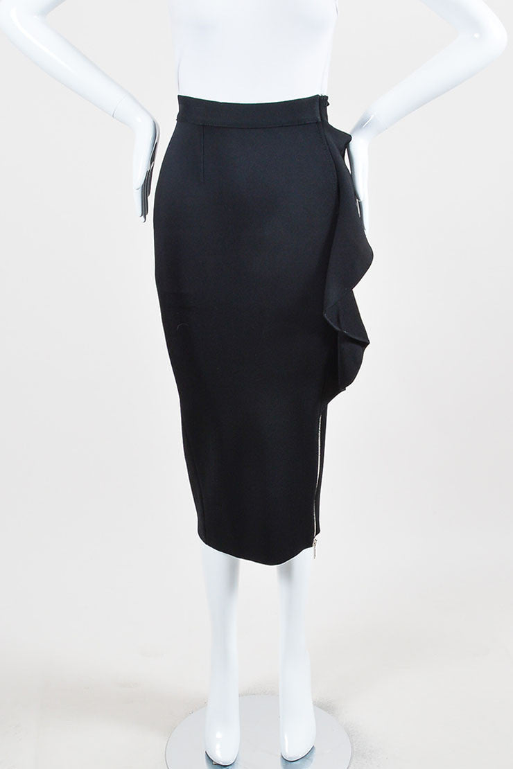 Black Givenchy Ribbed Stretch Crepe Ruffled Zipper Midi Skirt Frontview