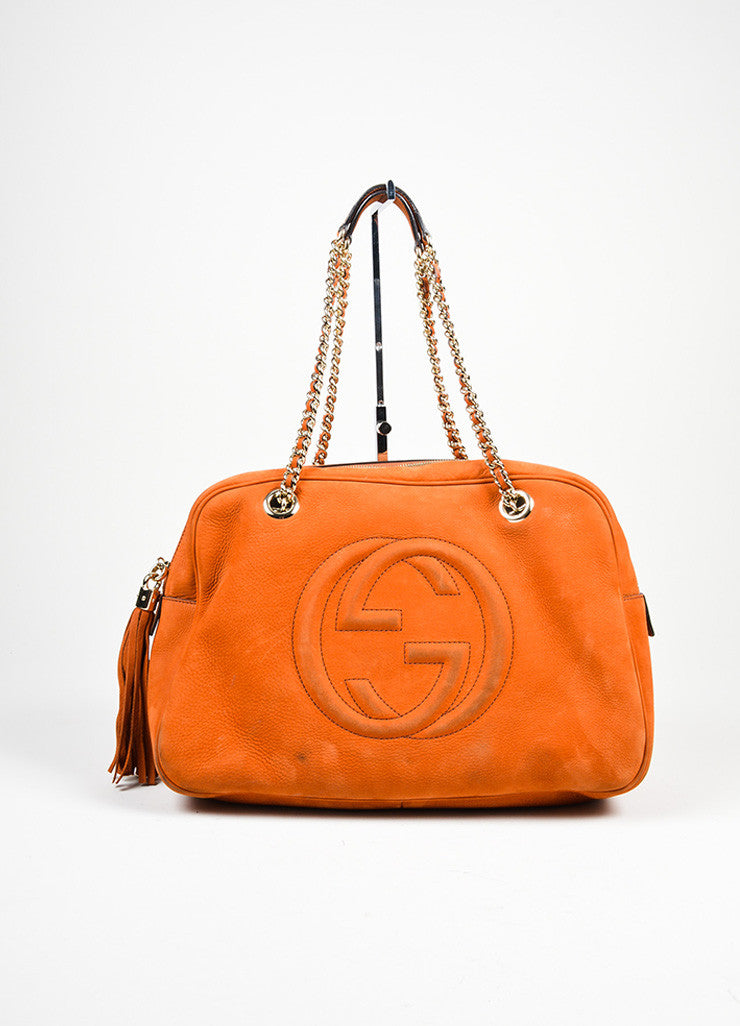 "Orange Gucci Nubuck Leather Chain Strap ""Soho"" Shoulder Bag Frontview"
