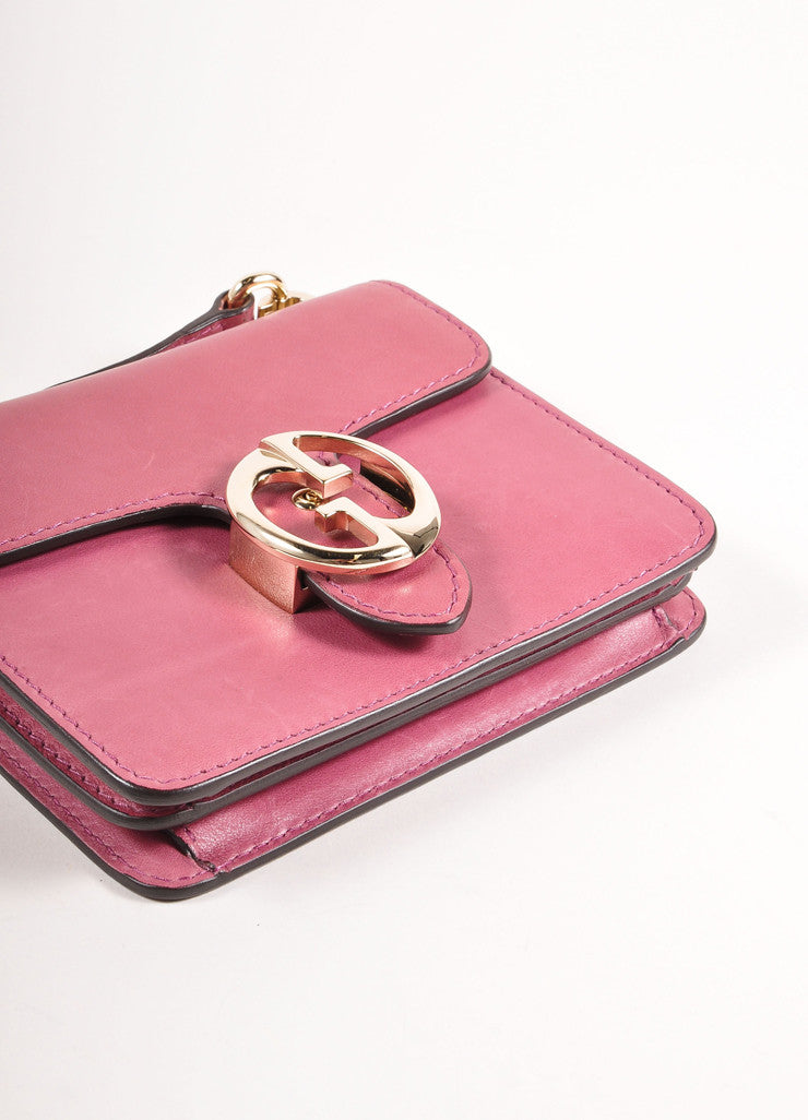 Gucci Pink 'GG' Logo Clasp Leather Crossbody Flap Bag Top