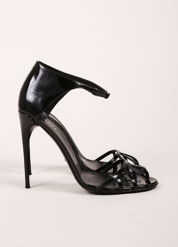 Gucci Black Patent Leather Stiletto Sandals Sideview
