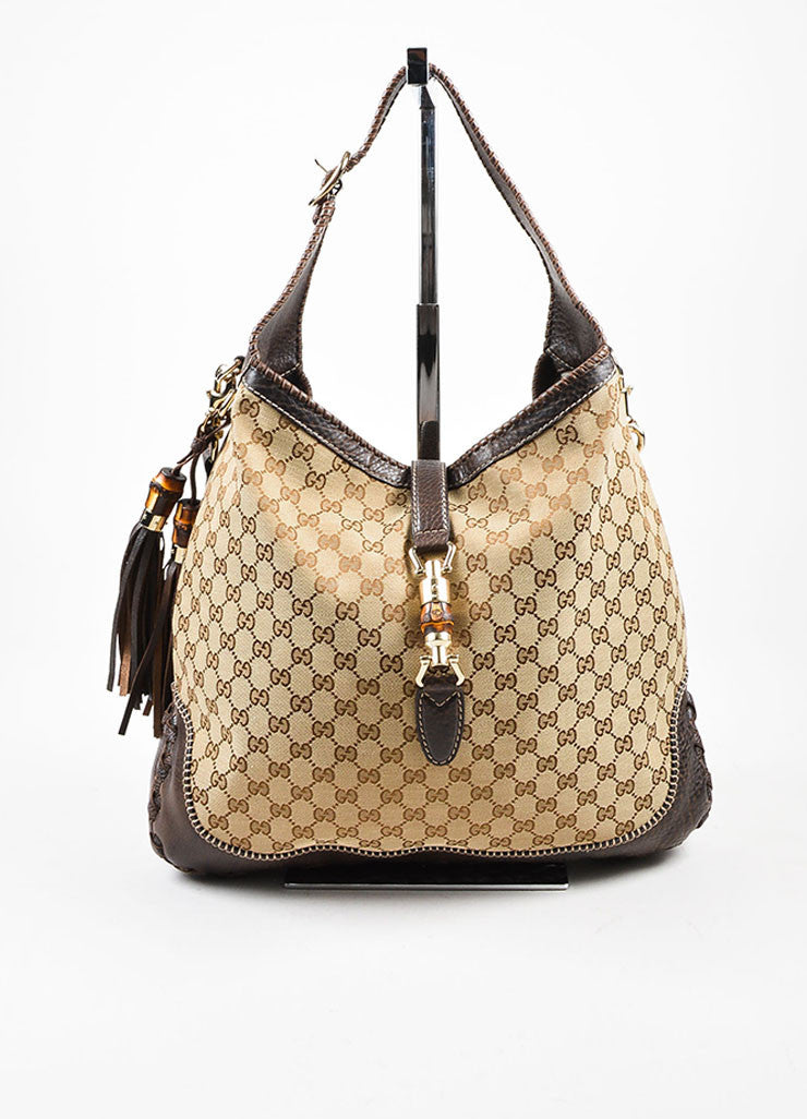 "Gucci Brown and Beige Canvas and Leather Monogram ""Large New Jackie"" Hobo Bag Frontview"