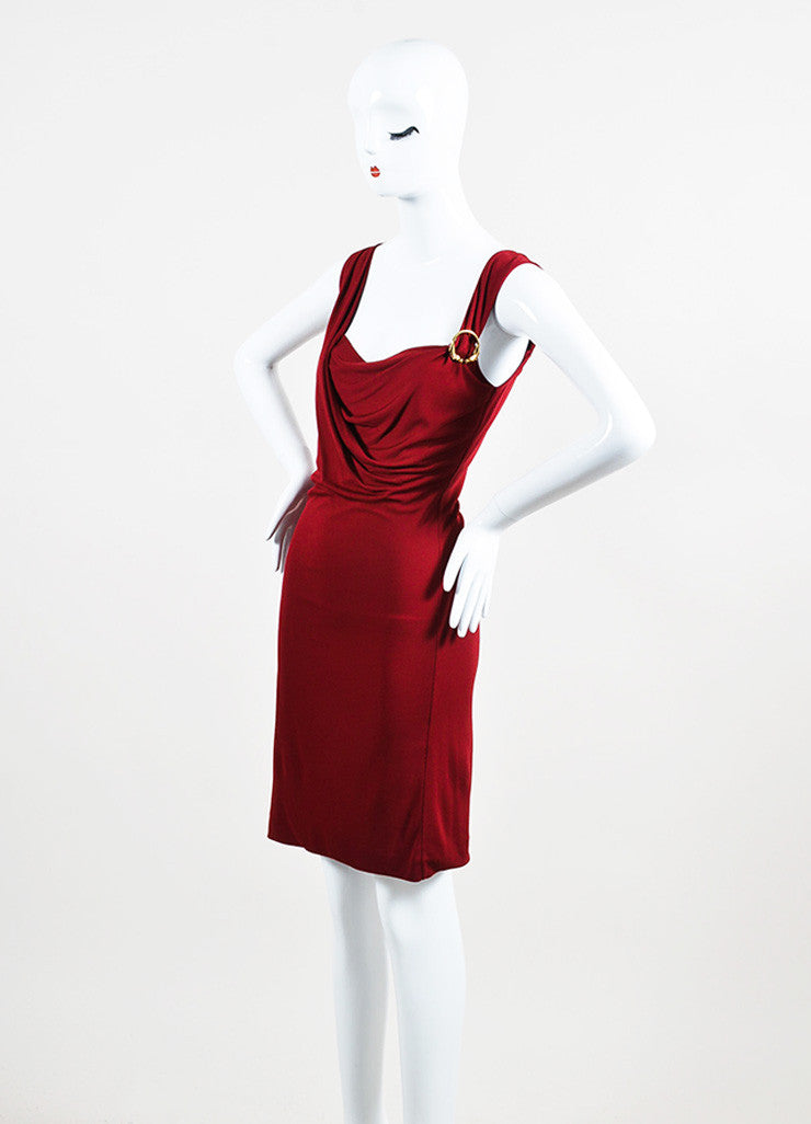 Gucci Maroon Red Jersey Gold Toned Horse Pin Sleeveless Dress Sideview