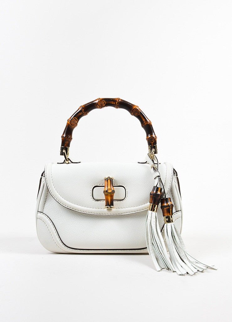 White Gucci Leather Bamboo Handle Tassel Bag Luxury