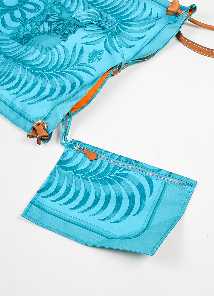 "Turquoise and Brown Hermes Leather Trim ""Silk City Tiger Royal"" Bag Detail 3"