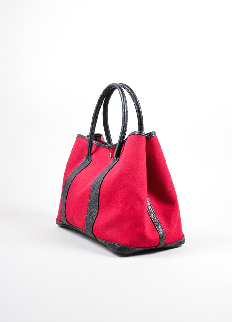"Hermes Red and Black Canvas Negonda Leather ""Garden Party GM"" Tote Bag Sideview"