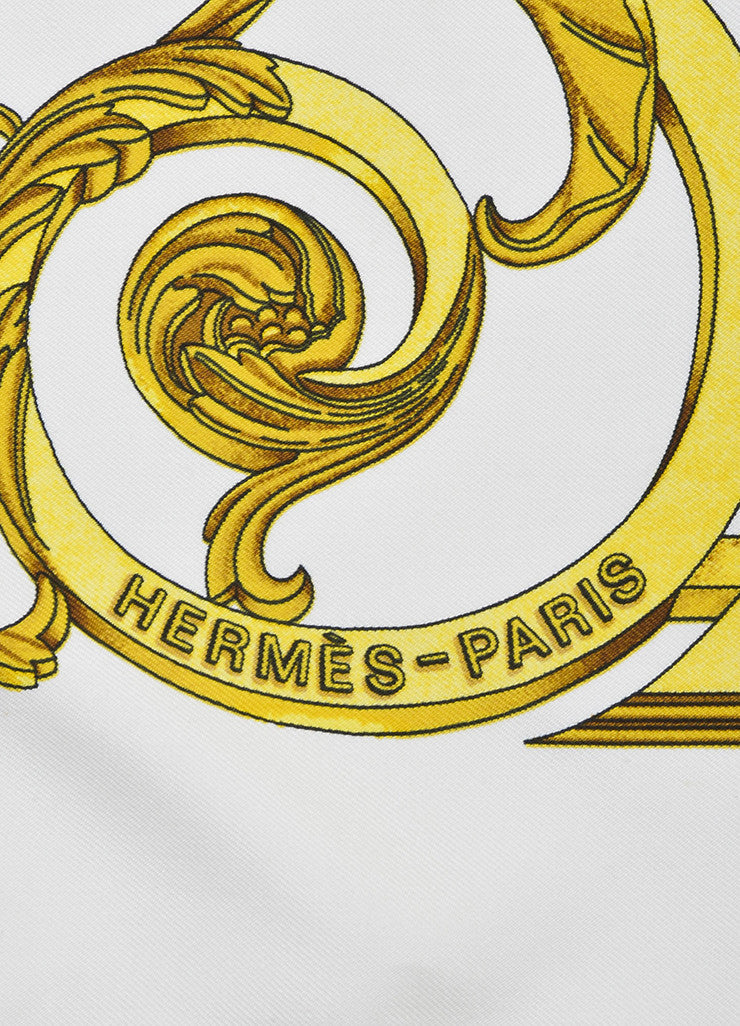 "Hermes Gold and Cream Silk ""Les Tuileries"" Print Square Scarf Brand"