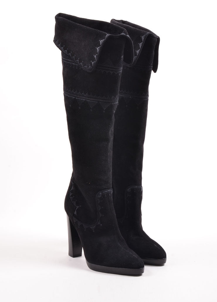 Hermes Black Suede Embroidered Stacked Heel Knee High Boots Frontview