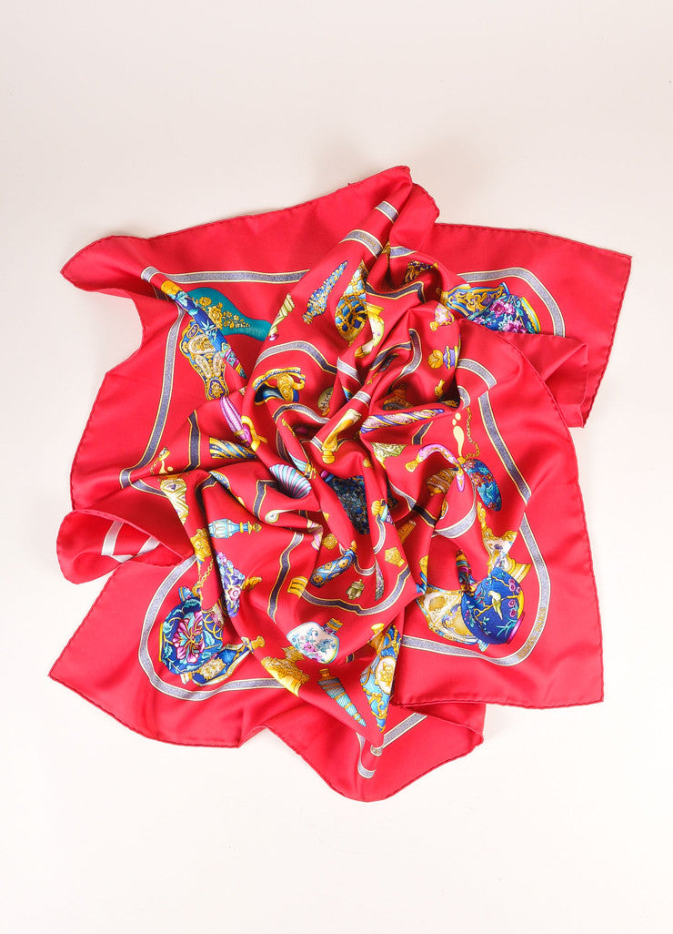 Hermes Red, Blue, and Gold Silk Perfume Bottle Print Scarf Frontview