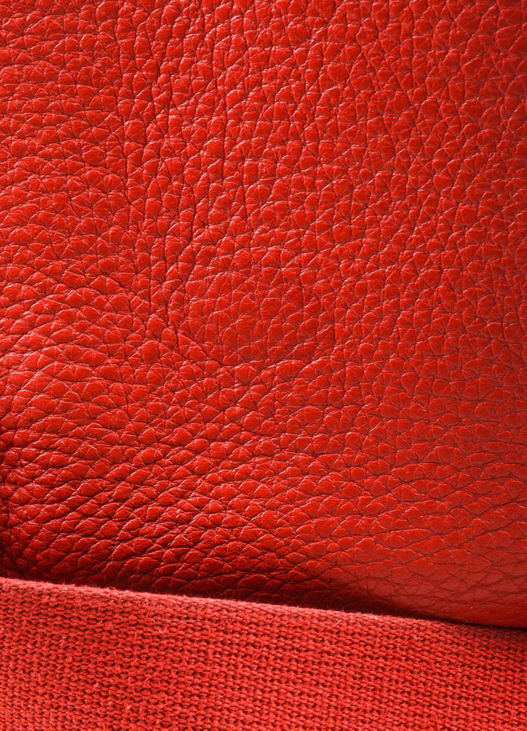 "Hermes Red Clemence Leather Canvas Strap ""Evelyne II PM"" Shoulder Bag Detail 4"