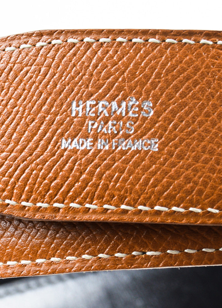Hermes Tan and Black Leather Reversible No Buckle Belt Brand