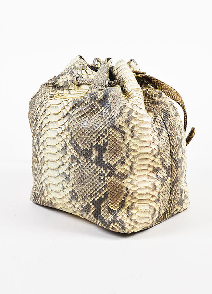 Hunting Season Cream and Grey Python Bucket Bag Sideview