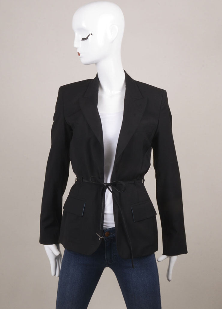 Jean Paul Gaultier Black Wool Belted Blazer Frontview
