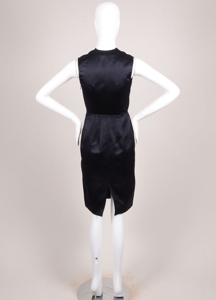 Jil Sander Navy Silk Satin Sleeveless V-Neck Sheath Dress Backview