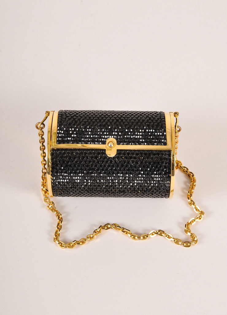 Judith Leiber Black and Gold Toned Crystal Rhinestone Mini Barrel Minaudiere Bag Frontview
