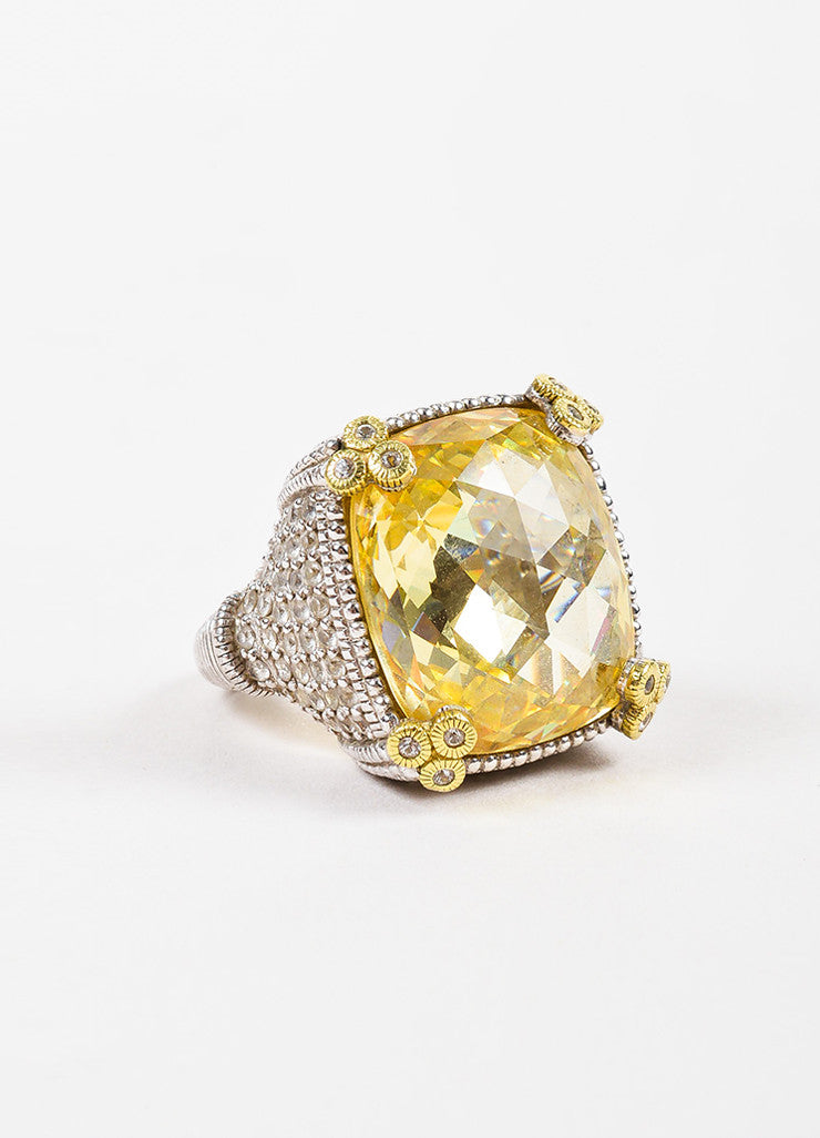 "Judith Ripka Sterling Silver 18K Gold Canary Crystal Diamond ""Monaco"" Ring  Sideview"