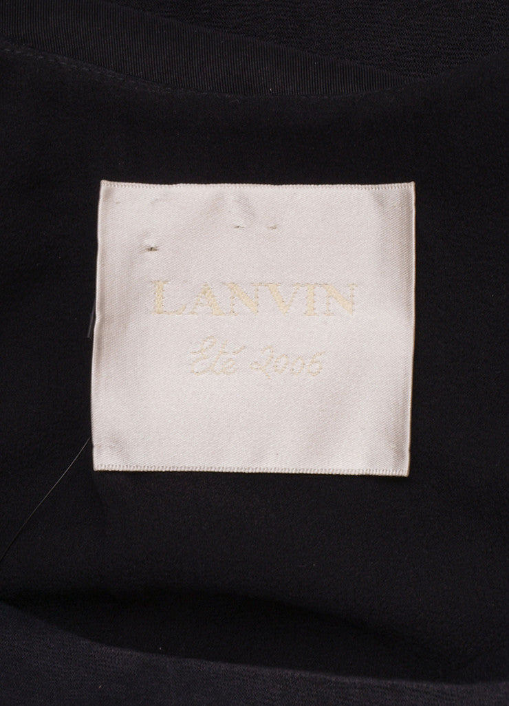 Lanvin Black Silk Blend Open Back Bow Detail Sleeveless Cocktail Dress Brand