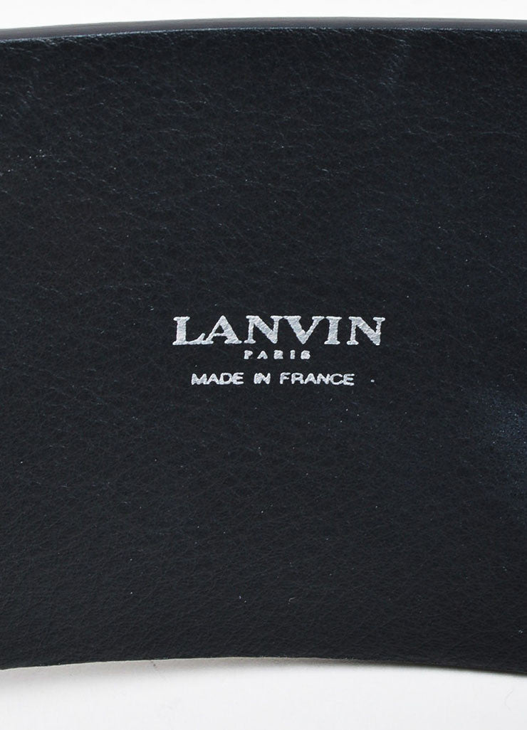 Black Lanvin Leather Double Loop Strap Wide Waist Belt Brand