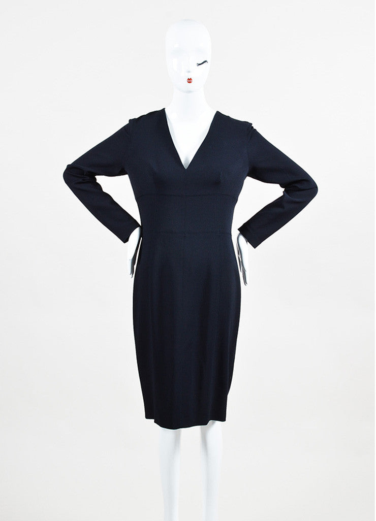 "Lanvin Navy Blue Long Sleeve V-Neck ""Uniform"" Dress Frontview"