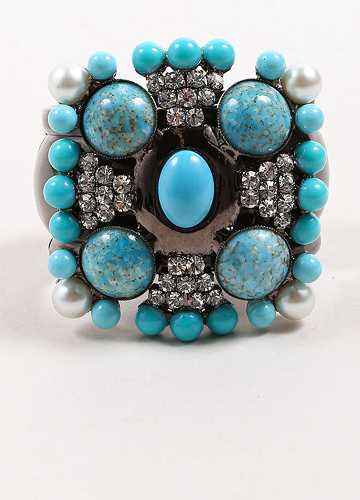 Lawrence Vrba Turquoise Blue and Gunmetal Grey Embellished Cross Cuff Bracelet Frontview