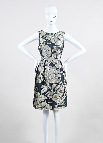 Grey and Metallic Silver Lela Rose Silk Floral Brocade Sheath Dress Frontview