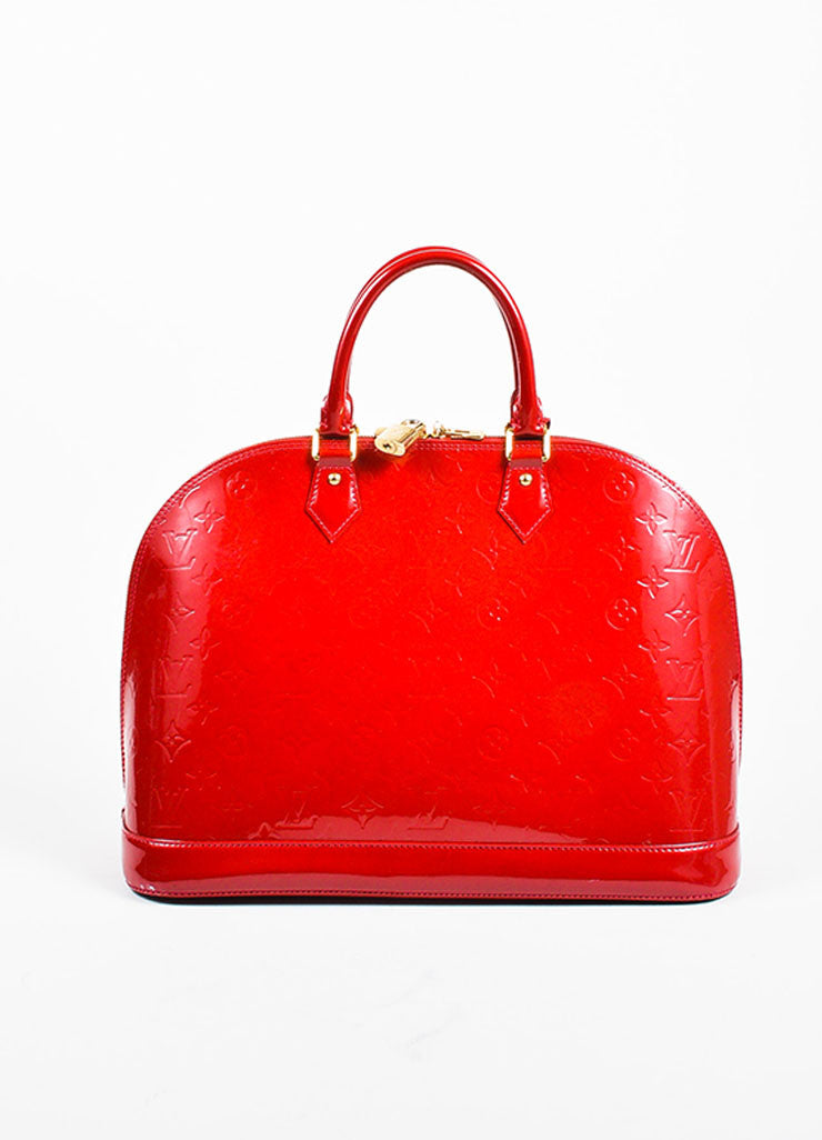 "Louis Vuitton ""Pomme"" Red ""Vernis"" Leather Monogram ""Alma GM"" Satchel Bag Frontview"
