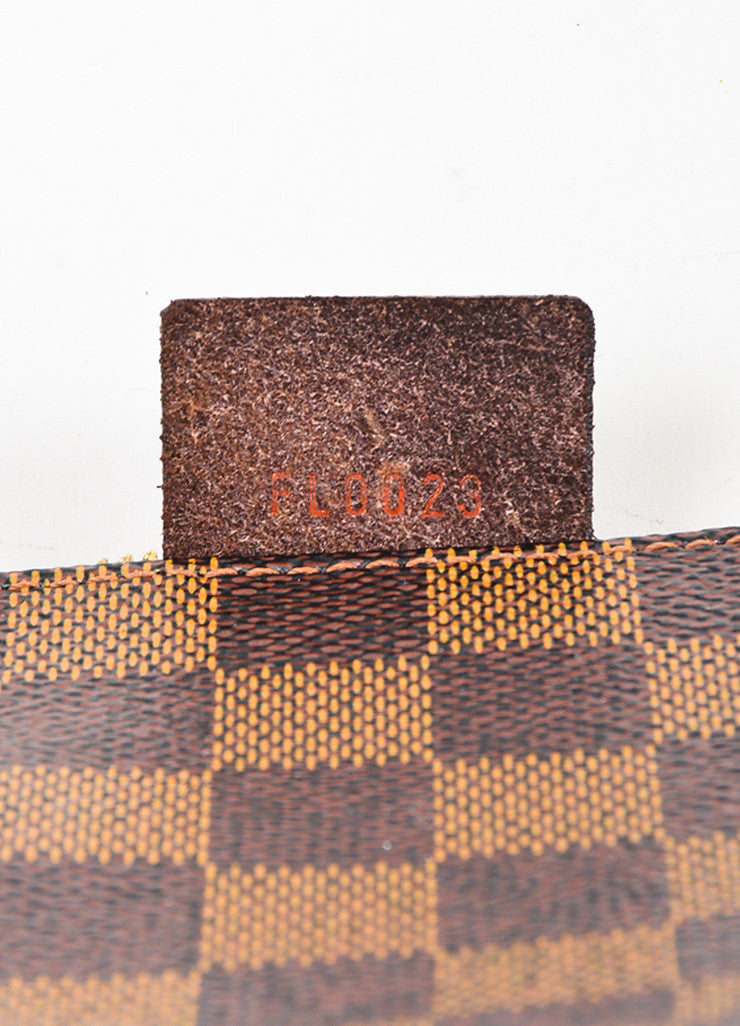 "Louis Vuitton Brown ""Damier"" Canvas Leather ""Trousse Accessoires Pochette"" Bag Date Code"