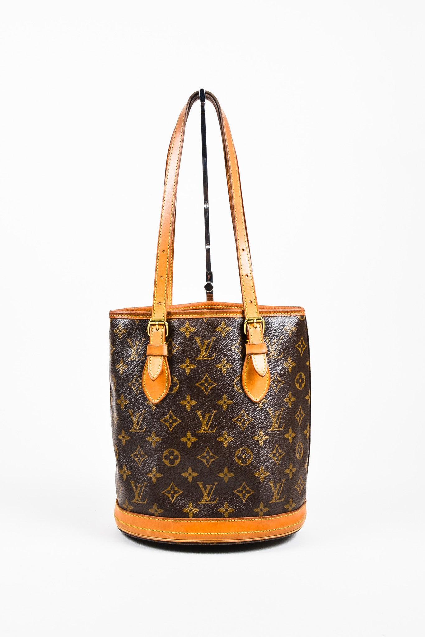 "Louis Vuitton Brown and Tan Coated Canvas and Leather ""Petite Bucket"" Shoulder Bag Frontview"