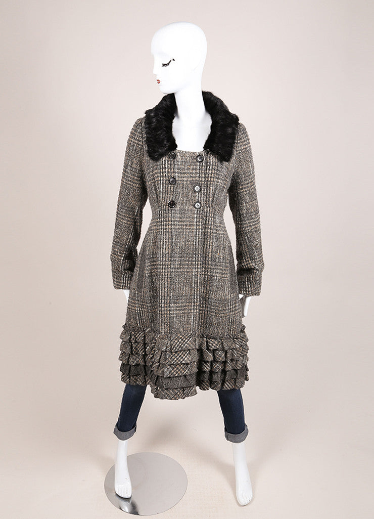 Louis Vuitton Grey and Black Wool Tweed Fur Collar Ruffle Long Sleeve Coat Frontview