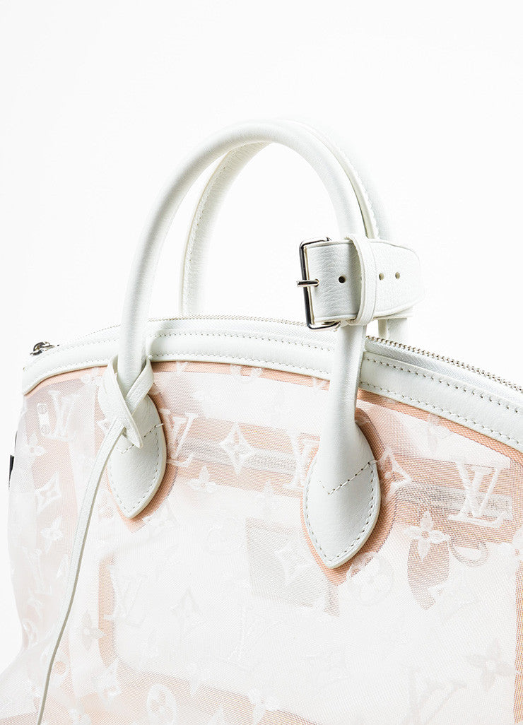 "Louis Vuitton Limted Edition White Nylon and Leather ""Transparence Lockit"" Satchel Bag Detail 2"