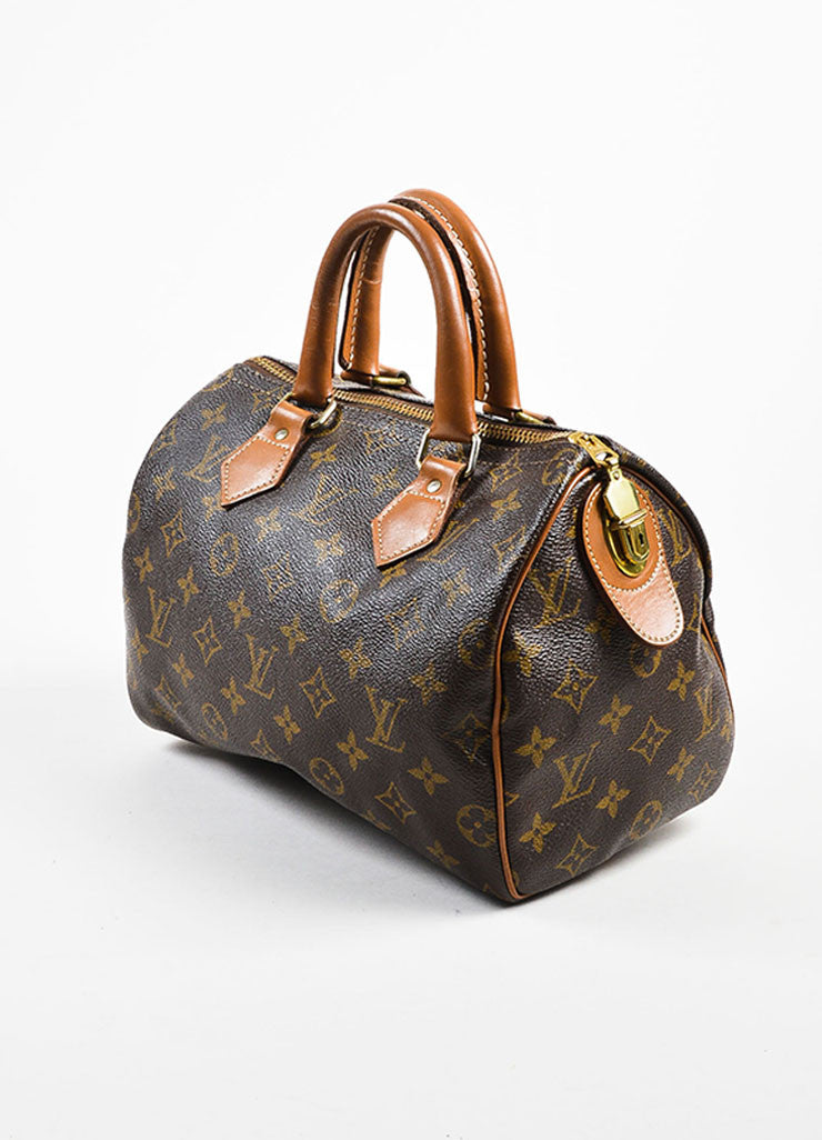 "Louis Vuitton x The French Luggage Company Brown Coated Canvas ""Speedy 25"" Bag Sideview"
