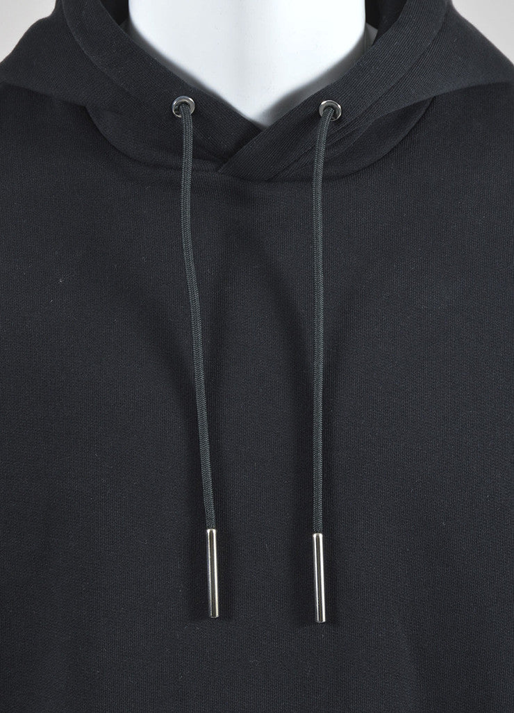 Men's Black Orange White Givenchy Cut Out Hem Fleece Hoodie Detail