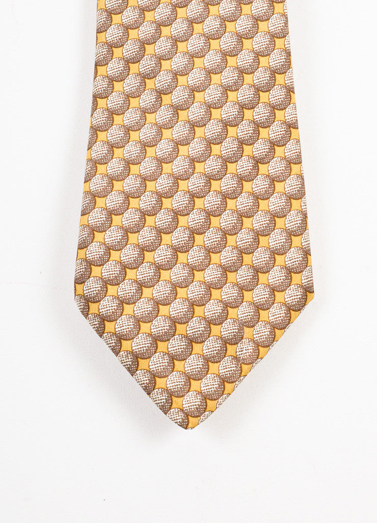 Men's Hermes Brown Tan Silk Circle Graphic Print Neck Tie Detail