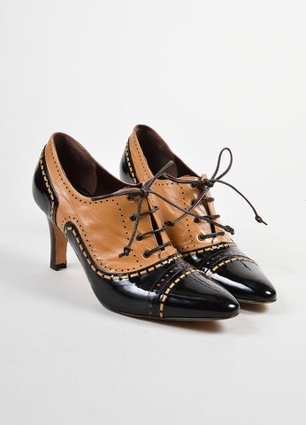 Brown and Tan Manolo Blahnik Leather Patent Perforated Lace Up Oxford Pumps Frontview