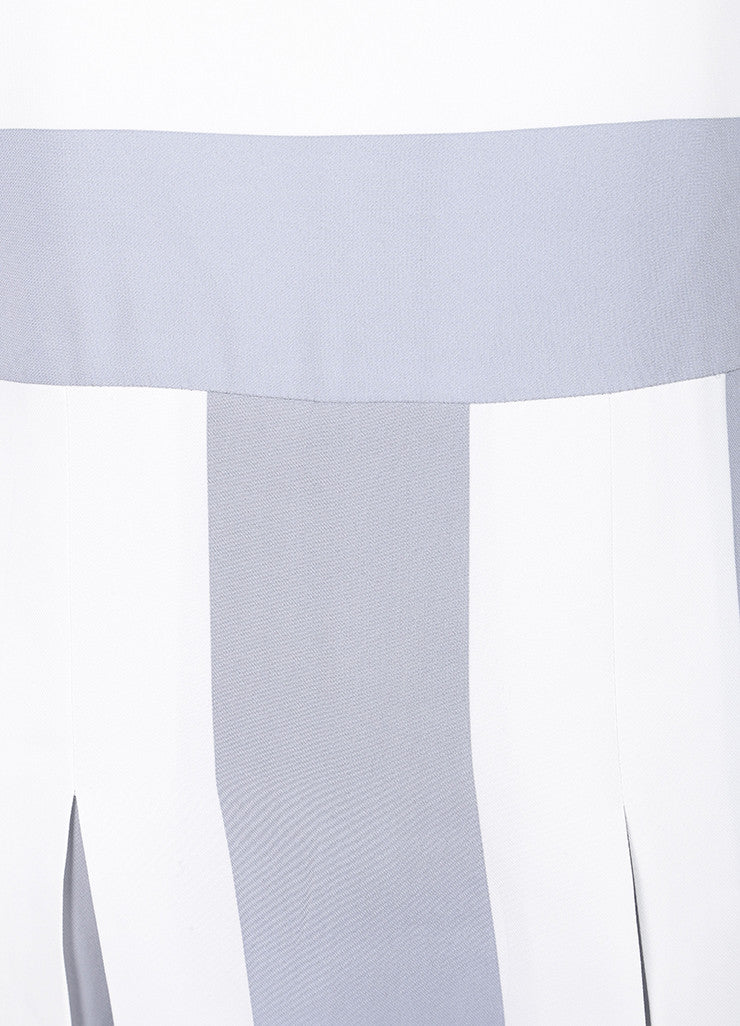 Marc Jacobs New With Tags Grey and White Stripe Print Pleated Short Sleeve Dress Details