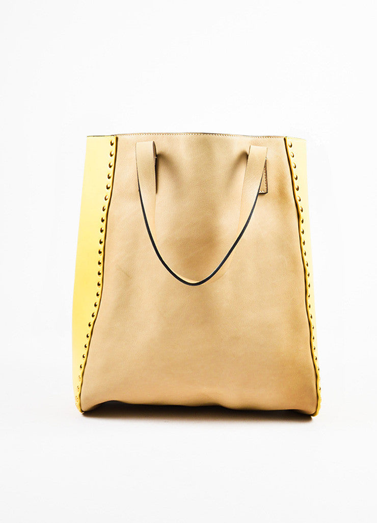 Marni Tan and Yellow Leather Studded Accent Bicolor Color Block Shoulder Tote Bag Frontview