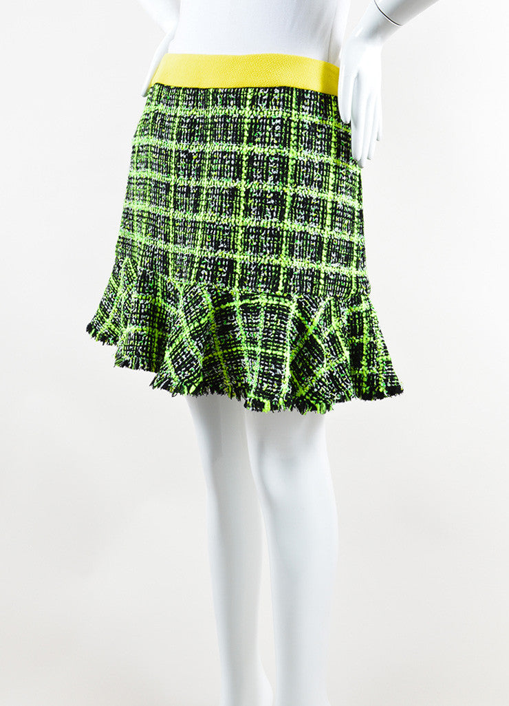 Neon Yellow, Green and Black Moschino Cheap and Chic Tweed Skirt Side