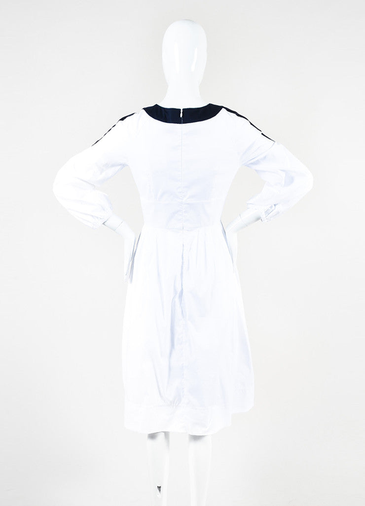 "White & Navy Peter Pilotto Cotton Buttoned ""Penta"" Dress Back"