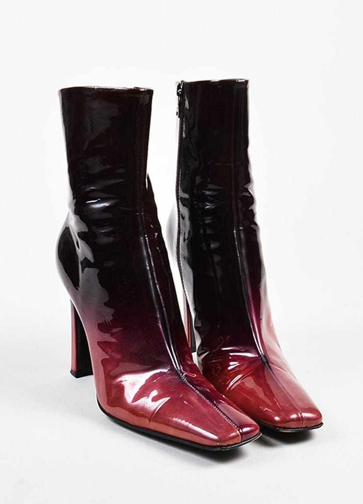 Black & Pink Prada Patent Leather Ombre Block Heel Square Toe Boots Front