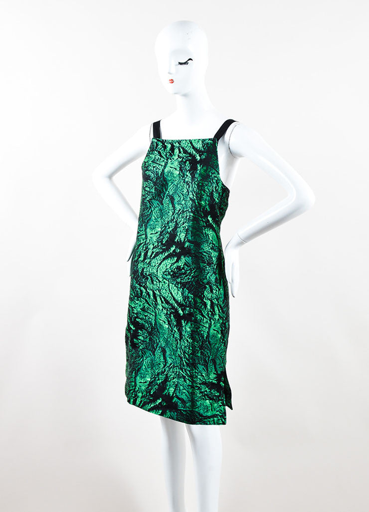 Proenza Schouler Green and Black Jacquard Shift Dress Side