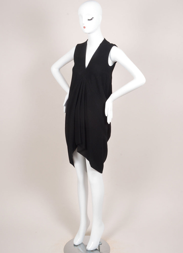 Rick Owens Black Crepe Wool Blend V-Neck Sleeveless High Low Dress Sideview