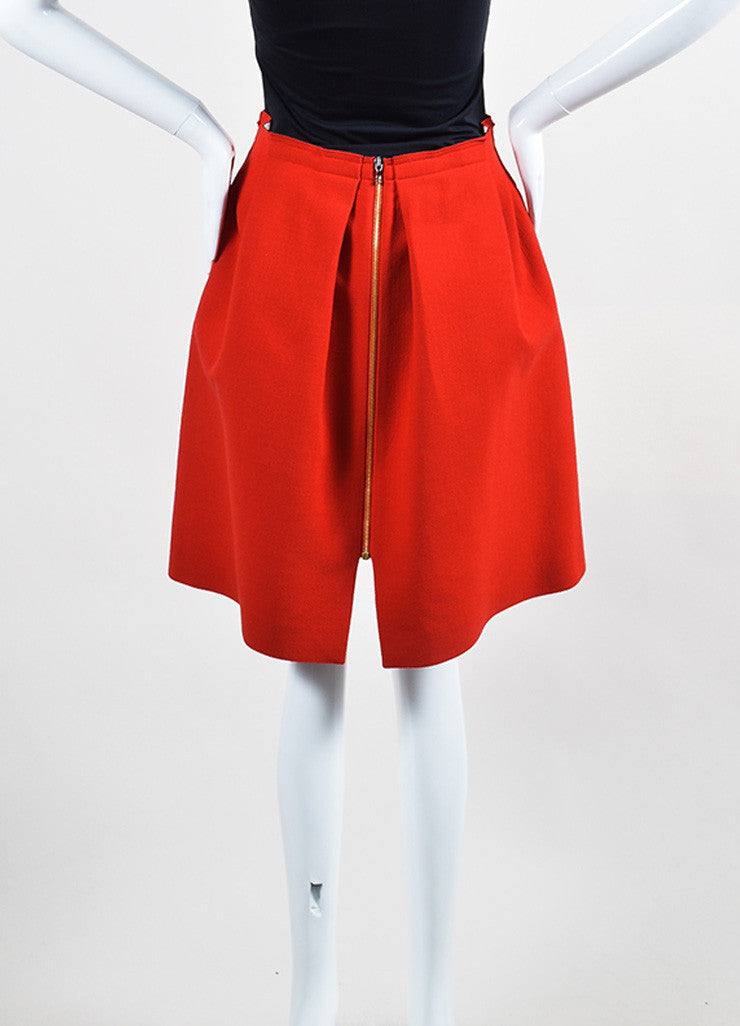 Red Roland Mouret Wool Zipper Knee Length Flared A-Line Skirt Backview