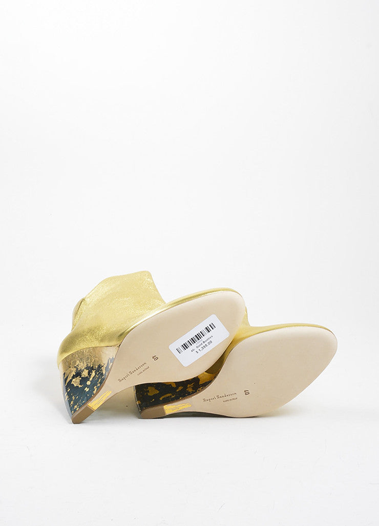 "Gold Metallic and Clear Rupert Sanderson ""Cupid"" Wedge Booties Outsoles"