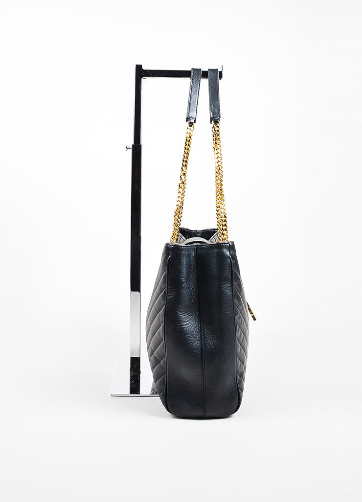"Saint Laurent Black Matelasse Quilted Leather ""Classic Monogram"" Shopping Bag Sideview"