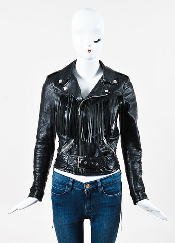 Saint Laurent Black Fringe Leather Cropped Jacket Front