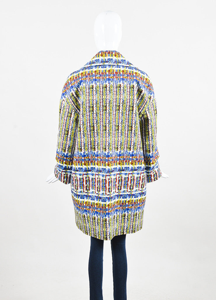 "Stella Jean Blue, Yellow, and White Cotton Printed ""Agente"" Overcoat Backview"