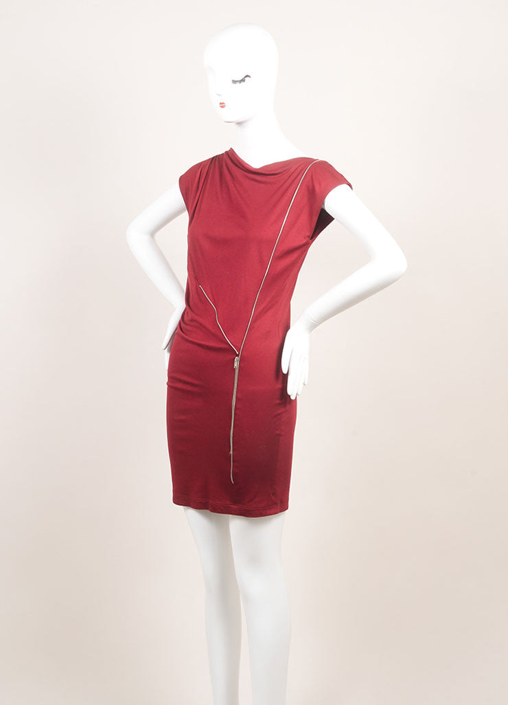 Stella McCartney New With Tags Burgundy Jersey Knit Sleeveless Dress Sideview