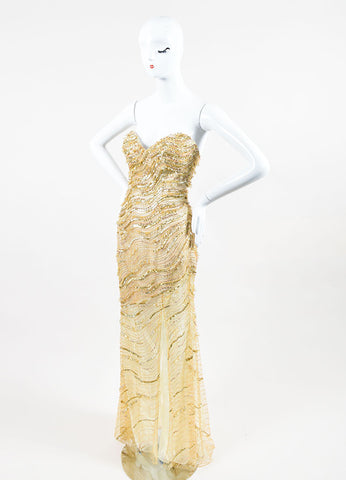 Gold Metallic Mesh Beaded Sequin Embellished Stephen Yearick Strapless Gown Sideview